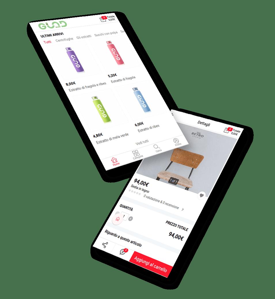 Sito ecommerce in un'app